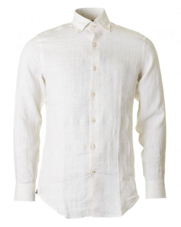 Linen Overcheck Nehru Collar Shirt
