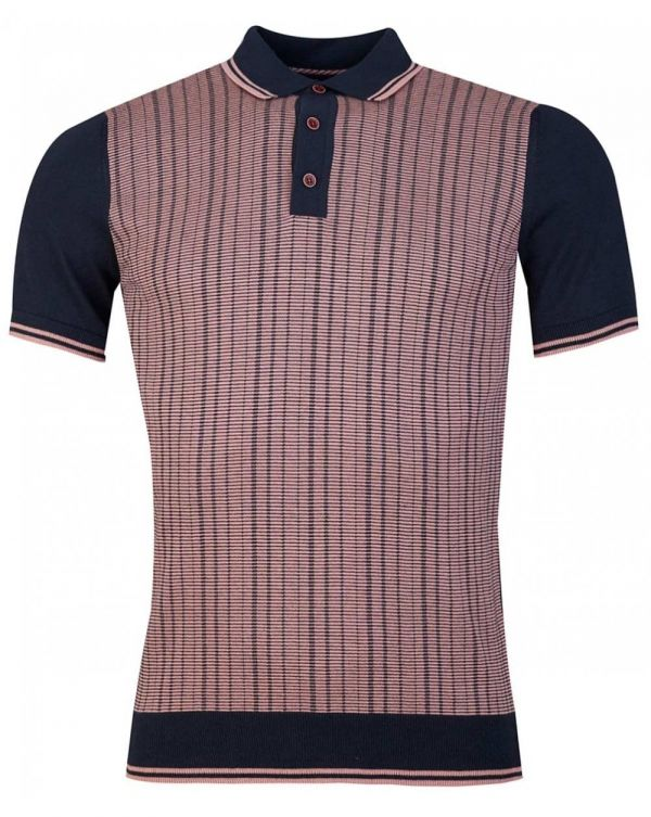 Abstract Stripe Knitted Polo Shirt