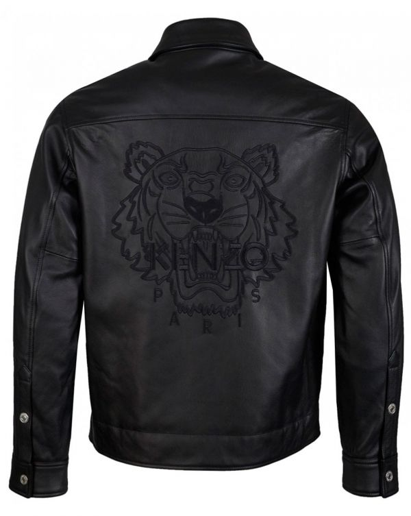 Embroidered Tiger Leather Jacket