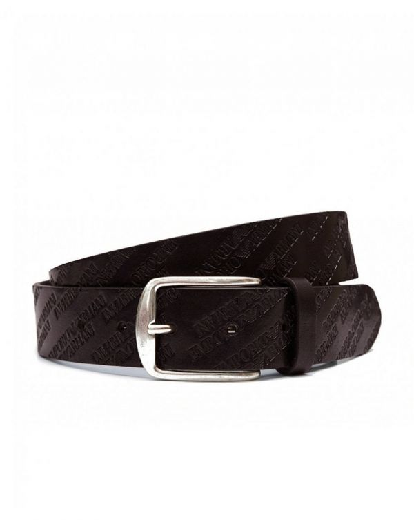 All Over Script Leather Belt