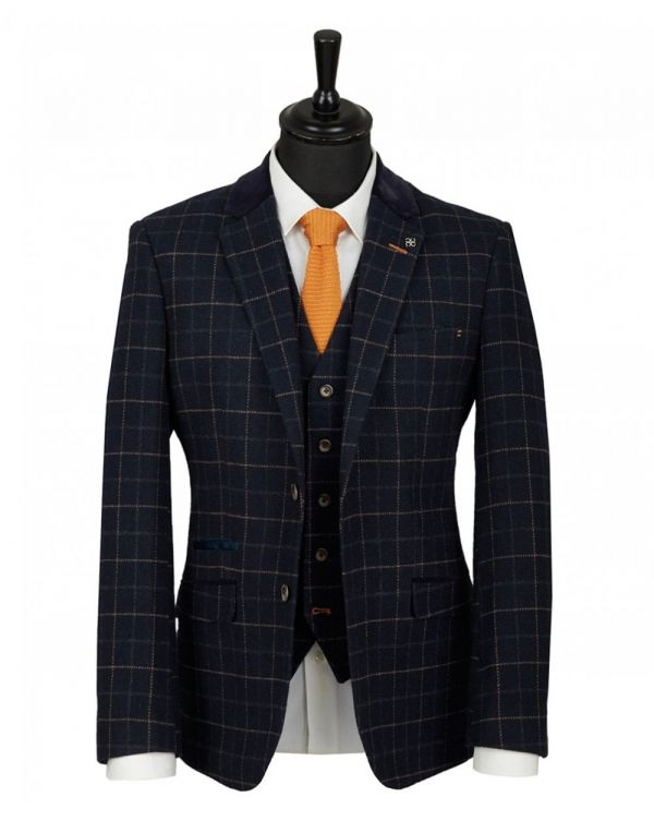 Velvet Collar 3 Piece Checked Suit