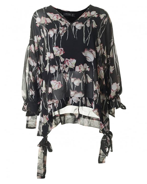 Hazard Floral Print Tie Sleeve Top